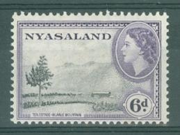 Nyasaland: 1953/54   QE II - Pictorial     SG180a    6d   [Perf: 12 X 12½]     MH - Nyassaland (1907-1953)