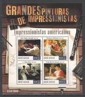 ST959 2015 GUINE GUINEA-BISSAU ART PAINTINGS GRANDES PINTURAS AMERICAN IMPRESSIONISTS KB+BL MNH - Impressionisme