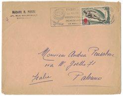 IN189  France 1963 Lettre De Paris Pour Italie N.1395 Ski Nautique + Flamme Le Floralis Internationales - Marcophilie (Lettres)
