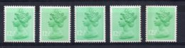 Great Britain - 1982/3 -12½p Machin (5 Different) - MNH - Neufs