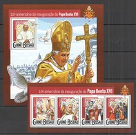 ST987 2015 GUINE GUINEA-BISSAU 10TH ANNIVERSARY INAGURATION POPE BENTO XVI KB+BL MNH - Popes