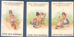 Chromo Maison Lamour Victor Fuchs Lunéville Lot De 3 Enfants Poussette Bébé Aquarium Chaise Haute Cache Cache Jeu Jouets - Chromos