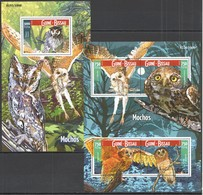 ST994 2015 GUINE GUINEA-BISSAU FAUNA BIRDS OWLS MOCHOS KB+BL MNH - Uilen