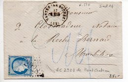 Convoyeur Station 'NANTES (LA BOURSE) N. StN. (42)' Avec Timbre Oblitéré Par GC 2838 De Pontchâteau - 1875 - Postmark Collection (Covers)