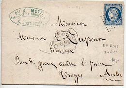 Convoyeur Station 'St JUST - SAUVAGE EP. ROM. (49)' (Marne) - 1874 - Marcophilie (Lettres)