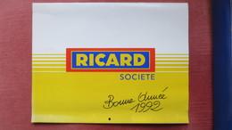 CALENDRIER RICARD 1992. 30X23 Cm. - Grand Format : 1991-00