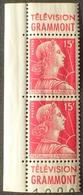 R1949/889 - 1955 - TYPE MARIANNE De MULLER - PAIRE N°1011 NEUF** CdF De Carnet Avec Publicité ☛ TELEVISION GRAMMONT - Advertising