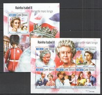 ST1054 2015 GUINE GUINEA-BISSAU ROYALITY QUEEN ELIZABETH II KB+BL MNH - Royalties, Royals