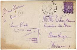 Cachet PRODUCTION INDUSTRIELLE CAMP DE VIREVIALLE Sur Carte De TULLE Correze 1941 ( MANUFACTURE D' ARMES ) - Marcophilie (Lettres)
