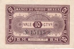 PORTUGAL BRAGA - BANCO DO MINHO   - CÉDULA De 10 CENTAVOS  - EMERGENCY PAPER MONEY - Portugal