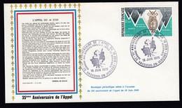 Lettre Brief 1975 France French Stamp Cover 35th Anniv De L'Appel WW2 Vassieux En Vercors Postmark - Militaria