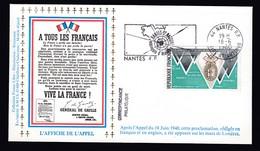 Lettre Brief 1980 France French Army Cover WW2 WWII Nantes Postmarks L'Affiche De L'Appel Envelope - Militaria