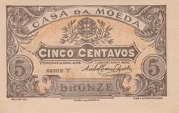 PORTUGAL CASA DA MOEDA   - CÉDULA De 5 CENTAVOS  - EMERGENCY PAPER MONEY - Portugal