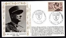 Lettre Brief 1985 France French Stamp Cover J De Lattre De Tassigny Cachet Forces Francaises - Militaria
