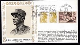 Lettre Brief 1985 France French Stamp Cover J De Lattre De Tassigny Cachet Paris Postmark - Militaria