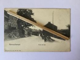 """REMOUCHAMPS """" ROUTE DE SPA  """"  Joli Panorama Animé  , Enfants ,Version Noir Et Blanc  ( 1904) NELS Série 20 / Nº 158 . - Aywaille"""
