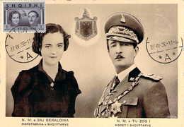 ALBANIE Shqipëria Carte Officielle Mariage Geraldina Et Tij Zog + Timbre Oblitération 27/4/1938 Rare - Albanie