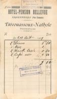 FACTURE  1909 HOTEL PENSION BELLEVUE DEVOUASSOUX NATHOLE ARGENTIERES PREDS DE CHAMONIX - Frankrijk
