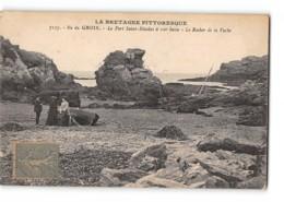 CPA 56 Ile De Groix Le Port St Nicolas à Mer Basse Rocher De La Vache - Groix