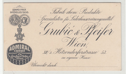 Admiral Creme - Grubić & Pfeifer, Wien Company Ad, Winner Of Grand Prix Bruxelles 1906 B190601 - Advertising