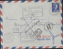 YT 1011B Marianne Muller 20F Bleu CAD Bordeaux 20 10 58 Flamme Grands Vins Cachet H De Brigade Secteur Erroné AFN Retour - Storia Postale