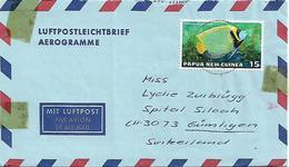PAPUA NEW GUINEA 1976 AEROGRAMME Sent To Suisse AEROGRAMME 1 Stamp Tropical Fish, USED - Papua New Guinea