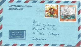 PAPUA NEW GUINEA 1988 AEROGRAMME Sent To Suisse 2 Stamps AEROGRAMME USED - Papua New Guinea