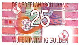 NETHERLANDS 25 GULDEN RED ABSTRACK  FRONT&MOTIF BACK 05-04-1989 P100 VF READ DESCRIPTION!! - [2] 1815-… : Koninkrijk Der Verenigde Nederlanden