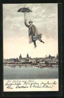 AK Mainz, Ein Ausflug, Fliegender Menschen Mit Regenschirm - Fotografie