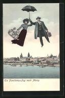 AK Mainz, Ein Familienausflug, Fliegende Menschen Mit Regenschirm - Fotografie