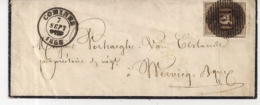 BRIEF P131 COMINES -10A-NAAR WERVICQ -7 SEPT 1858-PACHTIGE CENTRALE AFSTEMPELING - 1851-1857 Médaillons (6/8)