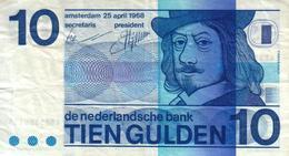 NETHERLANDS 10 GULDEN BLUE MAN  FRONT & MOTIF BACK 25-04-1968 P91a F+ READ DESCRIPTION!! - [2] 1815-… : Koninkrijk Der Verenigde Nederlanden