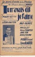 PARTITION N° 162 / TU M AVAIS DIT JE T AIME / LEON RAITER : BOSTON  CHANT PAR VORELLI - Liederbücher