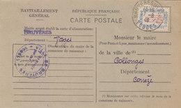 BRUYERES : CARTE DE RAVITAILLEMENT GENERAL.TIMBREE.   OBLI.1948.T.B.ETAT - Bruyeres