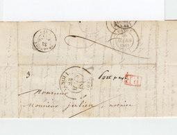 LAC De Vesoul Pour Sauve CAD Type 12 Vesoul 1844. CAD Besançon. C. PP Rouge Et Port Payé Manuscrit. (2324x) - 1801-1848: Précurseurs XIX