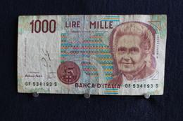16 / Italie - 1946: République Banca D'Italia,1000 Lire, Mille - 3 Octobre 1990 /  N° GF 534193 S - [ 2] 1946-… : République