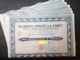 Lot 20 BIARRITZ-Anglet-La-Forêt 1925 + Coupons - Aandelen