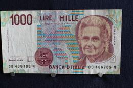 17 / Italie - 1946: République Banca D'Italia,1000 Lire, Mille - 3 Octobre 1990 /  N° GG 466705 N - [ 2] 1946-… Republik