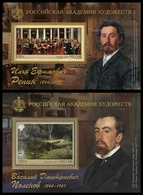 2019-2475-2476 (tip I) I Russia 2 S/S Painting: V.Polenov And I.Repin, Painters,full Members Of The Academy Of Arts  ** - 1992-.... Fédération