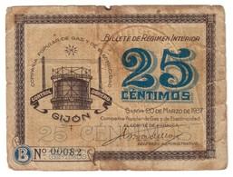 Spain Civil War Gijon 25 Centimos 20/03/1937 Low S/N 00082 Numero Bajo. Compania Popular De Gas Y Electricidad - Spagna