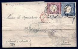 LETTRE ALSACE-LORRAINE OCCUPÉE- FORBACH POUR ST-CLÉMENT- TIMBRES EMPIRE N°16-17- CAD TYPE 2- 1874 - 3 SCANS + INFO - Storia Postale
