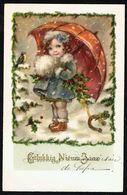 "ENFANT - CP - Fillette Avec Parapluie - "" Gelukkig Nieuwjaar "" - Circulé Ss Enveloppe - Circulated Under Cover- Gelaufen - Enfants"