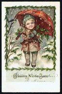 "ENFANT - CP - Garçonnet Avec Parapluie - "" Gelukkig Nieuwjaar "" - Circulé Ss Enveloppe- Circulated Under Cover- Gelaufen - Enfants"