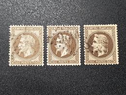 Napoléon III Lauré  N° 30/30a/30b (3 Teintes) Avec Oblitération D'Epoque, Cote: 120 €  TB - 1863-1870 Napoleon III With Laurels