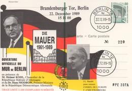 DI241 Allemagne 1989 - Mur De Berlin.  Entier Postal .TTB - Idées Européennes