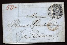 LETTRE ALSACE-LORRAINE OCCUPÉE- STRASBOURG POUR BORDEAUX- TIMBRES EMPIRE N°33 - CAD TYPE 7- 1876 - 3 SCANS + INFO - Poststempel (Briefe)