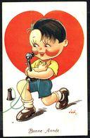"""ENFANT - CP - Garçonnet Déclarant Son Amour Au Téléphone - """" Bonne Année """" - Circulé - Circulated - Gelaufen - 1936 - Autres"""
