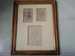 3 DESSINS SIGNEE HENRI MONNIER 1805 1877 DANS SON CADRE EN BOIS - Dessins