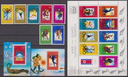 North Korea 18.02.1978 Mi # 1683-89 Klbg 1683-91 Bl 42-43 1972 Sapporo & 1976 Innsbruck Winter Olympics MNH OG - Inverno1976: Innsbruck