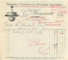 FACTURE 1922 G.  MOUSSERON VERRERIES ET CRISTAUX LEON SIBON 74 RUE DU FAUBOURG ST DENIS - Francia